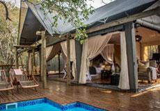 The deck of a Rhino Sands Tented Suite