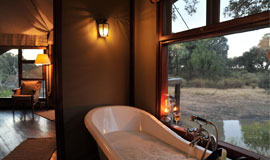 Bath with a view at Hamiltons tented Camp