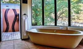 Bath and outside shower in Ivory Tree room