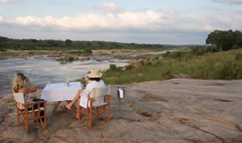 Sundowners at the river at Mjejane