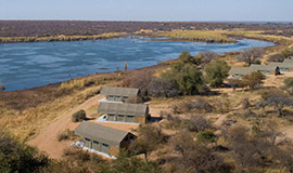 Aerial view of Little Mongena Tented camp next to Mongena dam in Dinokeng