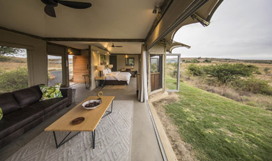 Tented suite at Nambiti Ndaka Safari Lodge