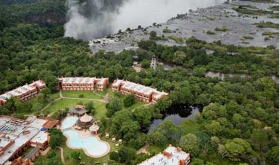 Aerial view of Zambezi Sun Hotel, now known as Avani Vicfalls resortl