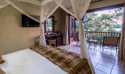 Room looking out to Zambezi River